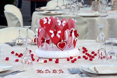 Ma.Do.Ri.Fà. bomboniere: Il centrotavola con i cuori: le nozze in rosso!