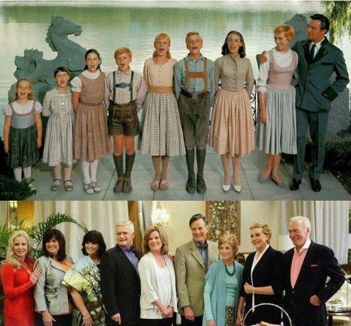 Then and now: Kym Karath, Debbie Turner, Angela Cartwright, Duane Chase, Heather Menzies, Nicholas Hammond, Charmian Carr, Julie Andrews, and Christopher Plummer in The Sound of Music (1965)