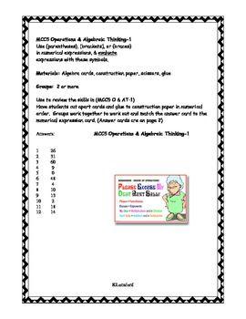 Order of Operations - Card Sort   Common Core Math MCC5.OA.1  Parentheses, Brackets, Braces: Math Operations, Common Core Algebra, Core Numbers, Operations Card Sort, Common Core Math, Algebra Mcc5 Oa 1, Order Of Operations, Algebraic Thinking, Common Cores
