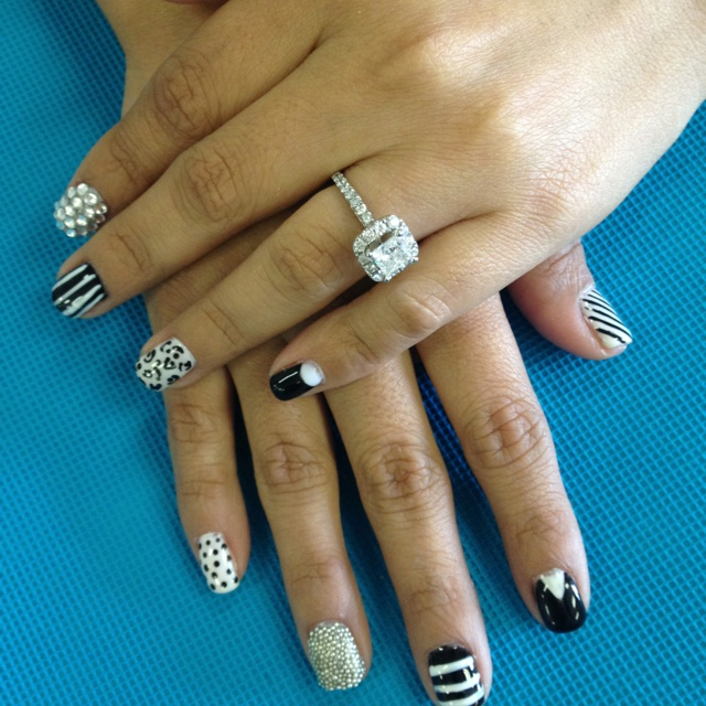 My black and white shellac nails, with rhinestones and caviar beads