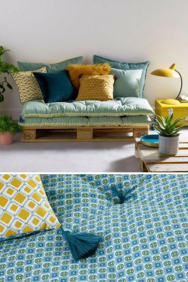 11 Idées de Meubles Confortables à Fabriquer Avec des Palettes + Coussins  (Intérieur   Extérieur)   Brico-Ino   Pinterest   Bedroom, Cosy et Cosy  house f25af8faa03