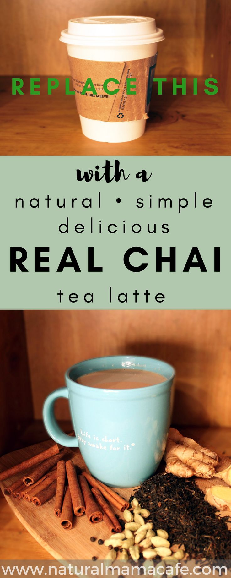 Have you ever had a day where it's worth piling everyone in the car, driving to a coffee shop, and buying a sweet and spicy chai tea latte? If you have, then you might be a bit of a chai addict, like me, and you'll love this homemade chai latte recipe! via @naturalmamacafe