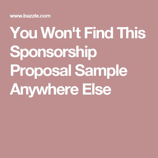 You Won't Find This Sponsorship Proposal Sample Anywhere Else