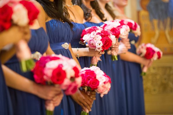 Royal blue and pink wedding details.. My girls:):)