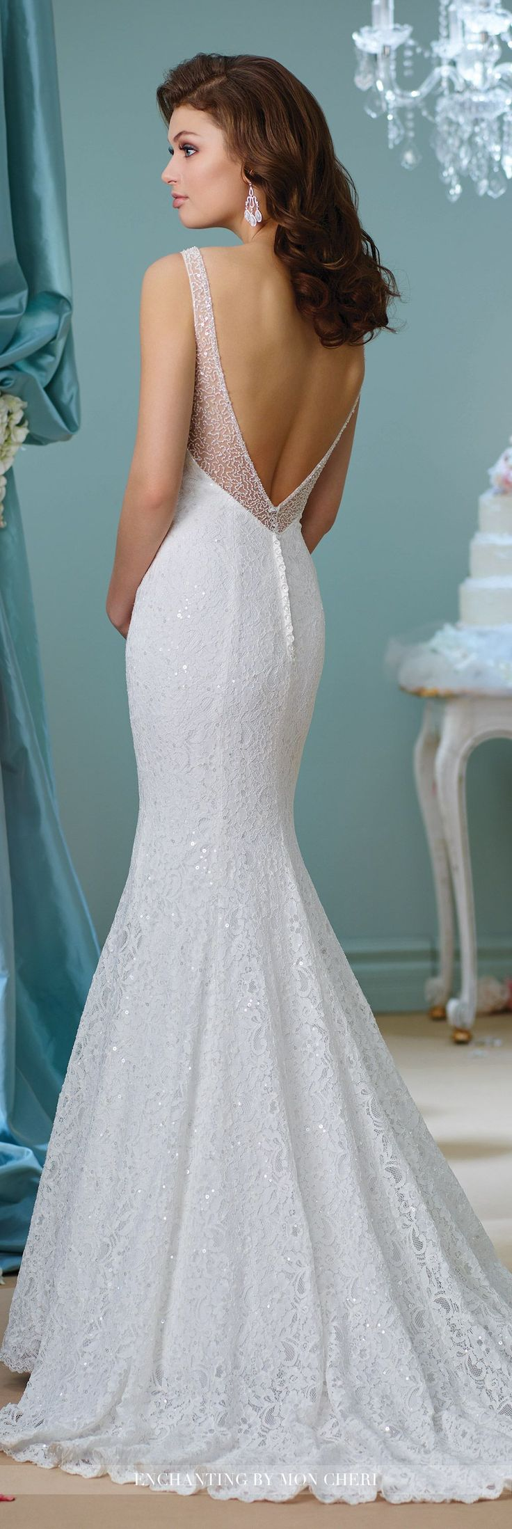 Enchanting by Mon Cheri Fall 2016 Wedding Gown Collection - Style No. 216154 -sleeveless lace and sequin fit and flare wedding dress