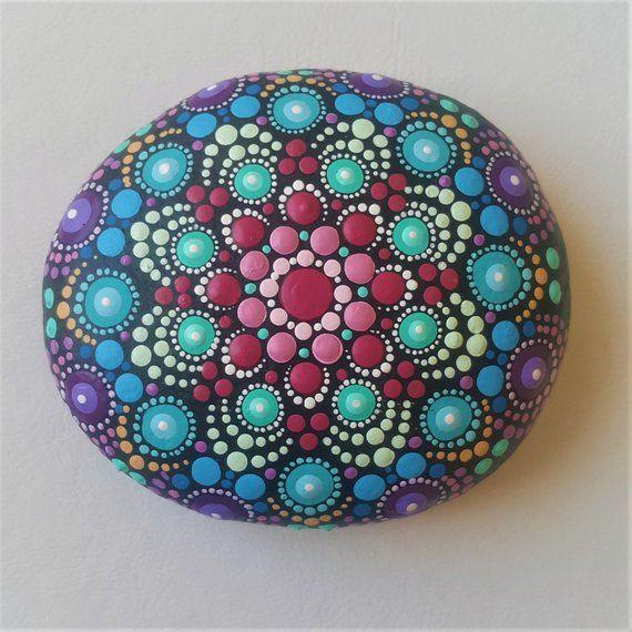 Mandala Stone Painted Jewelry Mandala Stones Dot Art Painted Stone Blue Rock Painting Jewel Drop