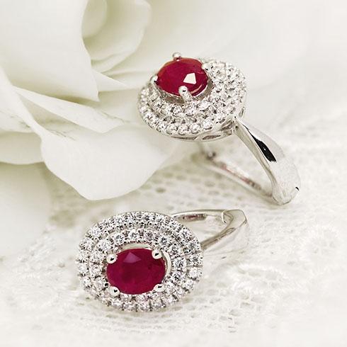 Rubies & diamonds splendid earings