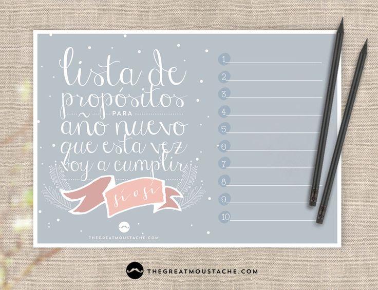FREE PRINTABLE - LISTA DE PROPÓSITOS PARA AÑO NUEVO - thegreatmoustache.com