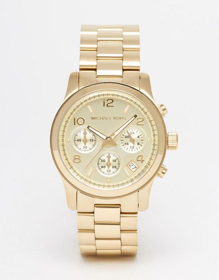 Lækre Michael Kors Runway MK5055 Gold Chronograph Watch - Gold Michael Kors Ure til Damer i dejlige materialer