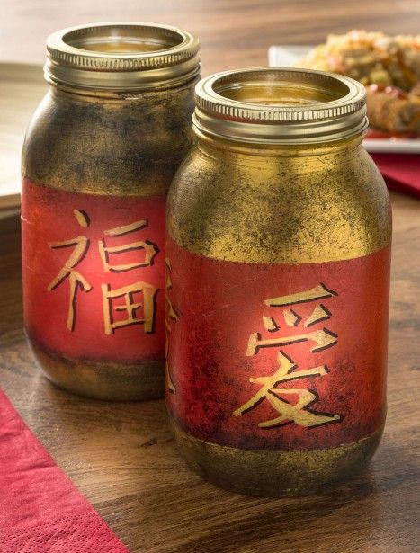 Chinese New Year craft: mason jar lanterns