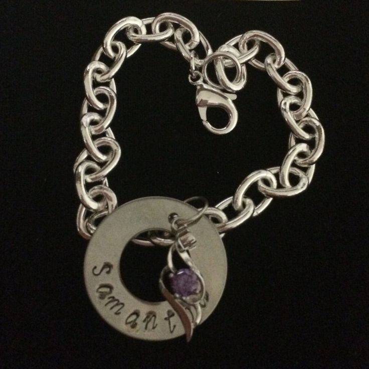 Purple crystal pendant on a  hand stamped personalised bracelet by Giftitright on Etsy