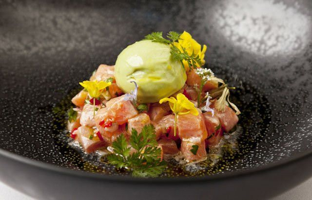 Trout ceviche with AVOCADO SORBET