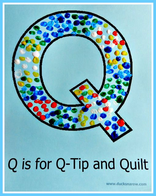 Q is for Q-tips and Quilts preschool dot painting activity with FREE printable.