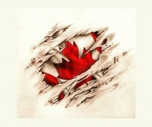 Canadian scratched flag tattoo wallpaper
