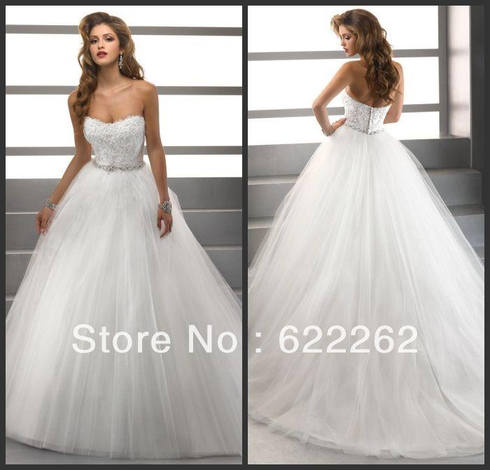 Роскошные Благородный бальное платье принцессы Милая Уникальный дизайн Белый органзы Бисер Вышивка свадебное платье 2013 свадебное платье 169.74