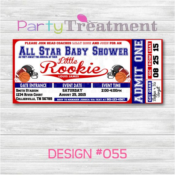 AllStar Sports Baby Shower Ticket Invitation by PartyTreatment, $10.00