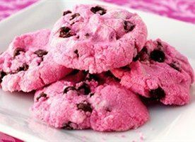 UPDATE! Lots of folks have reported problems making these cookies. Please use the awesome NEW VERSION instead: http://www.tablespoon.com/recipes/pink-chocolate-chip-cookies-recipe/1/ ! 48 cookies