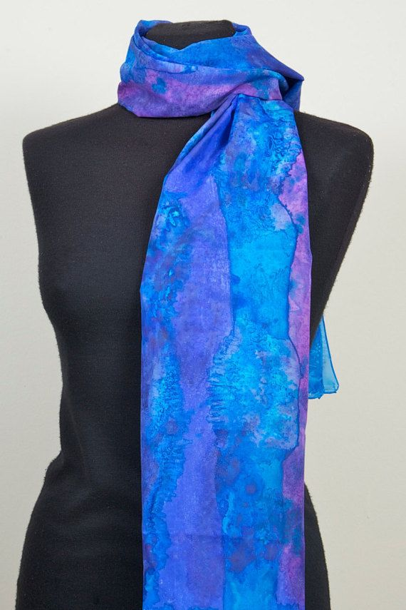 Handpainted Long 100% Silk Scarf dyed with silk dyes. by Scarfaki