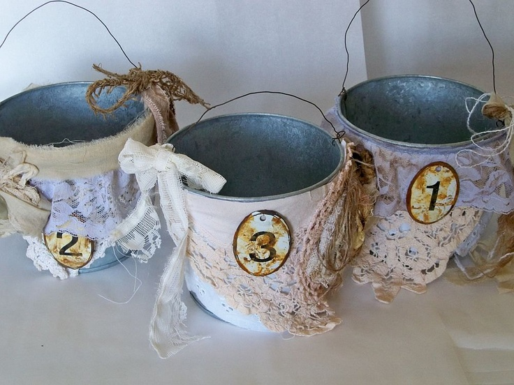Being held reserved Galvanized metal bucket set embellished number tags muslin and lace home decor anita spero. $60.00, via Etsy.