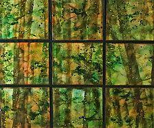 "Rainforest in Nine Panels by Cynthia Miller (Art Glass Wall Sculpture) (33"" x 38"")"