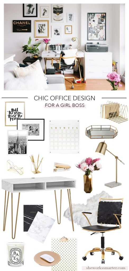 Chic Office Design For A Boss Babe! Get The Look Of This Glam, Feminine  Home Office With My Free Shopping List. Create An Affordable Home Office  Space With ...