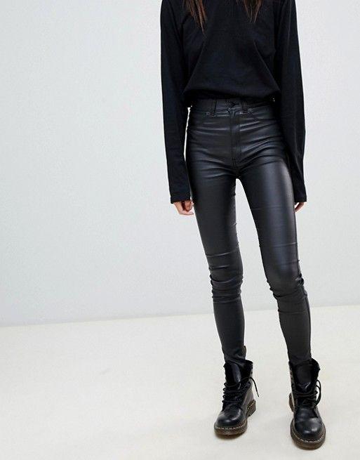 92949da9b45d46 Dr Denim | Dr Denim Solitaire super high waist leather look super skinny  jean