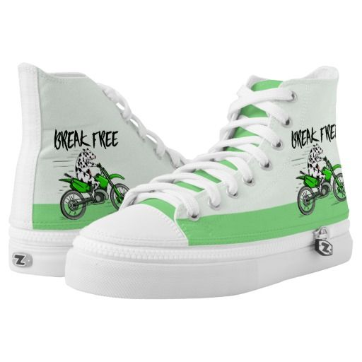 Cow riding a bright green motorbike printed shoes