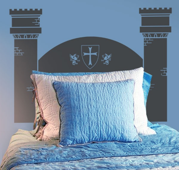 #autocollants #decalques #wallstickers #decals Tête de lit simple Château / Knight Castle Twin Headboard. Disponible pour lit double. Also available in Full size.