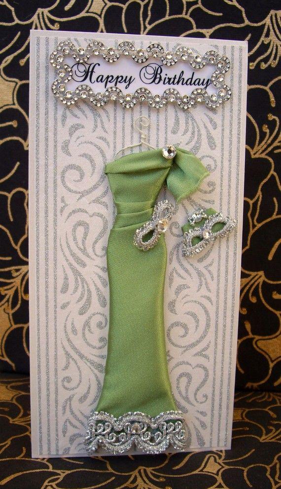 Jade Personalized Dress Card / Handmade Greeting Card by BSylvar, $19.00