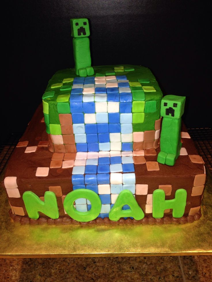 Minecraft Cake Fondant Creeper Cake Love Pinterest