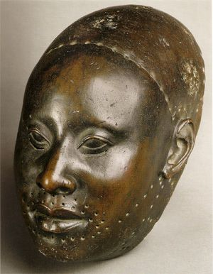 Almost pure copper mask of King Obalufon II c. 1300 AD from the king's palace. Ife, Nigeria. Museum of Ife Antiquities