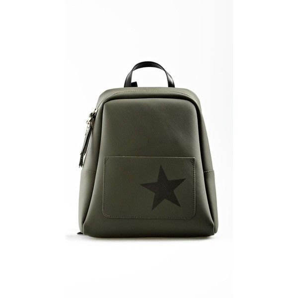 Gum by Gianni Chiarini Star Print Military Green Backpack ($110) ❤ liked on Polyvore featuring bags, backpacks, green, green backpack, army green bag, knapsack bag, star bag and rucksack bags