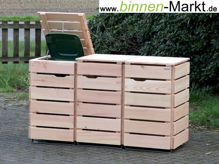 3er m lltonnenverkleidung holz natur m lltonnenbox holz. Black Bedroom Furniture Sets. Home Design Ideas
