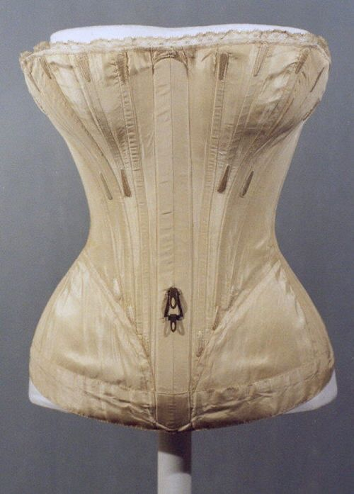 Corset, 1839-41. I wonder what the hook is for?