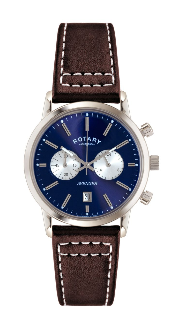 FREE US SHIPPING. Authentic Rotary GS02730/05 Men's Watch Chronograph Blue Dial Avenger With Brown Leather Strap. Rotary Lifetime Guarantee Included.