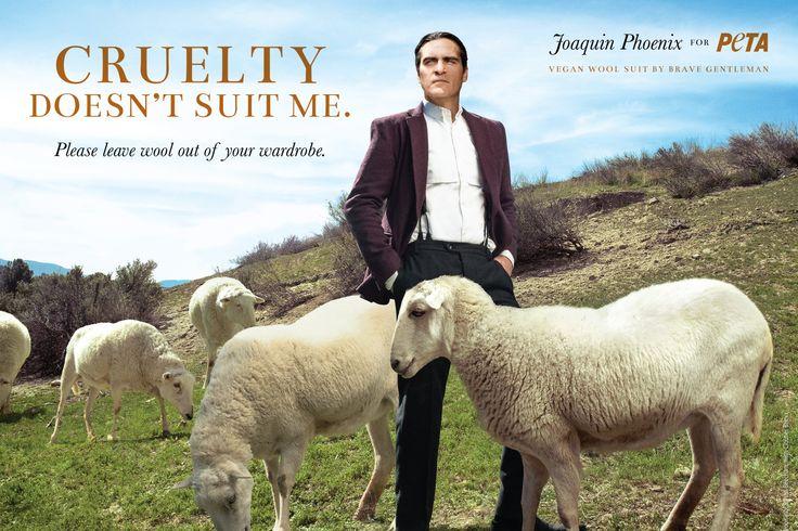 Actor Joaquin Phoenix wears vegan wool suit from Brave GentleMan for the new PETA ad (courtesy PETA)