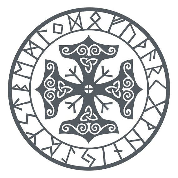 Viking protection runes talisman gray vinyl decal by sparrowhawk9, $4.50