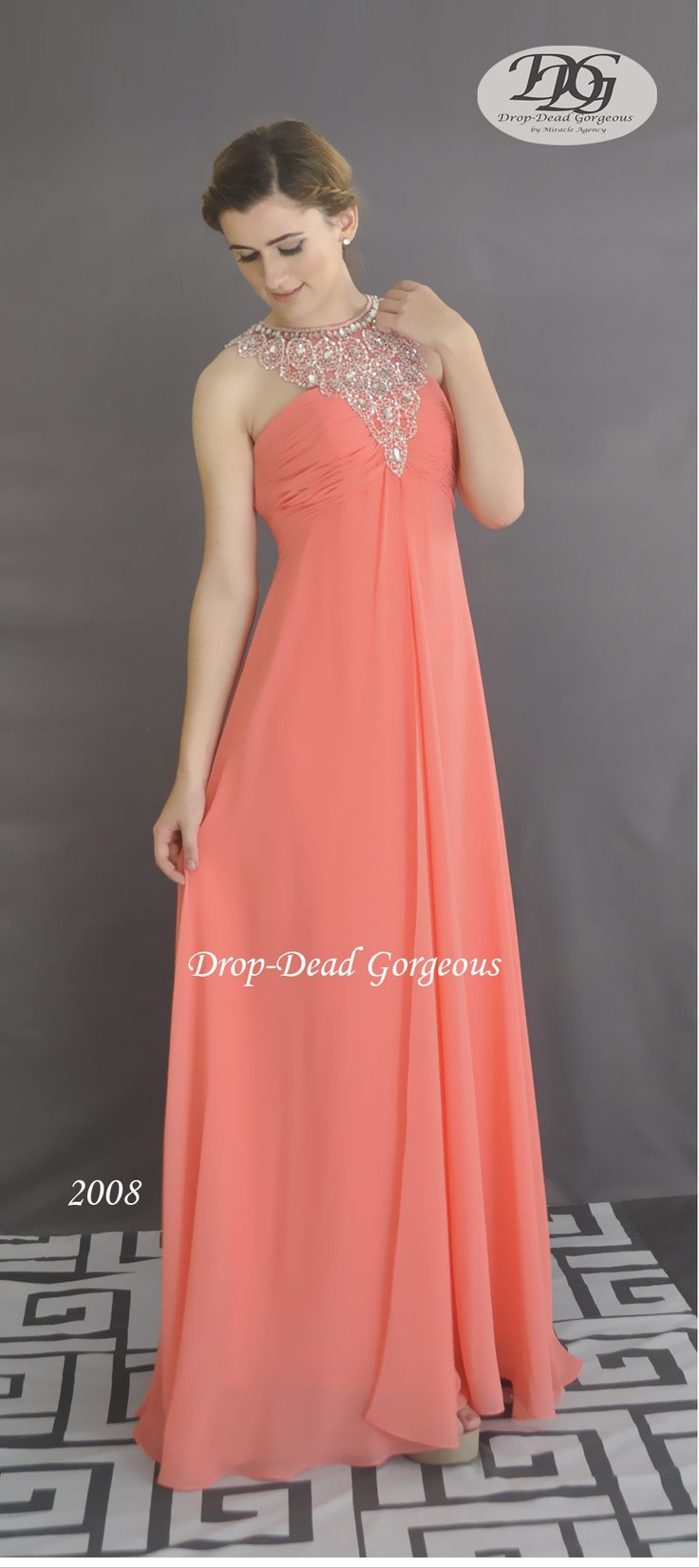 Forever Popular: School Formal and Bridesmaids Dress:  Georgette gown with a triangle beaded neckline and an open low back. #DDGMA #DropDeadGorgeousbymiracleagency #MiracleAgency #Schoolformal #Maids  #australiawedding #bridesmaids #dresses www.miracleagency.net