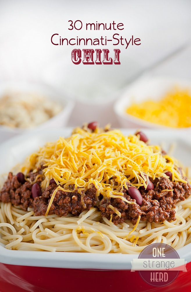 Authentic Cincinnati style chili, just like Skyline, that's ready in 30 minutes!  If you've not experienced this chili you're missing out!!