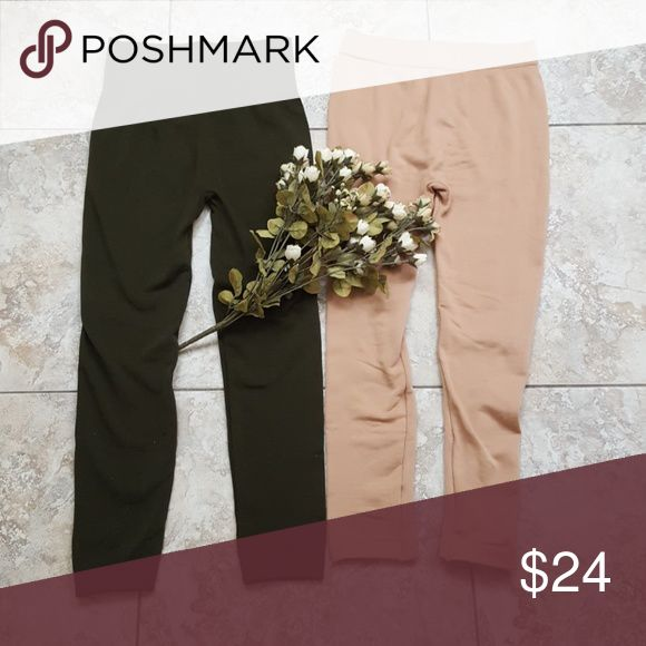 🍂New! Fall fleece-lined leggings bundle NWOT In Camel and Forest Green... the green pair has a slightly higher waist. Both are super soft and cozy one size fits most. Never worn as I realized in Phoenix we don't require fleece-lined pants lol! Boutique Pants Leggings