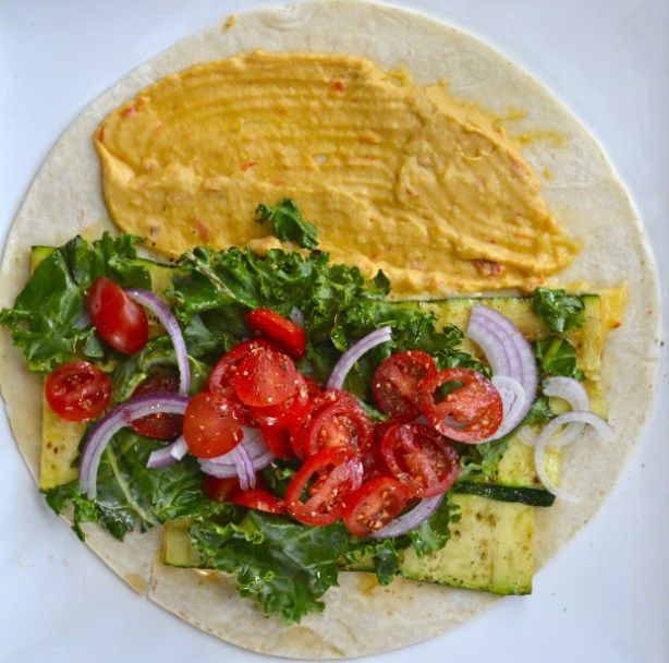 grilled zucchini hummus wrap Fresh veggies are grilled to perfection and packed in this Grilled Zucchini Hummus Wrap!