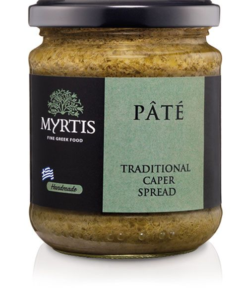 Myrtis Caper Spread is a Unique Mediterranean taste, produced from wild grown fresh capers of the Aegean islands. This spread makes a delicious topping for bruschetta, crostini, and crackers and it makes for a delicious accompaniment of smoked salmon or tuna fish.