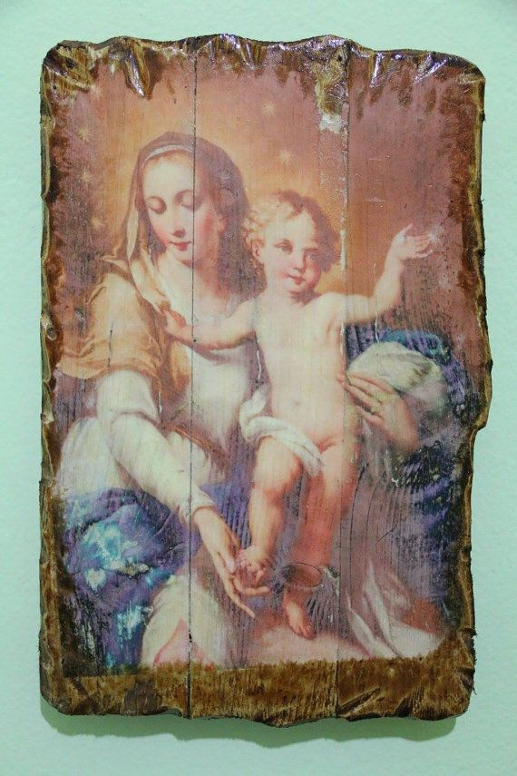 Virgin Mary and Jesus as child. Handmade in Hellas-Greece. Dimensions: 7,85 x 11,80 inches / 20 x 30 cm