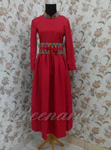 Red chilli dress with batik rangrang obi