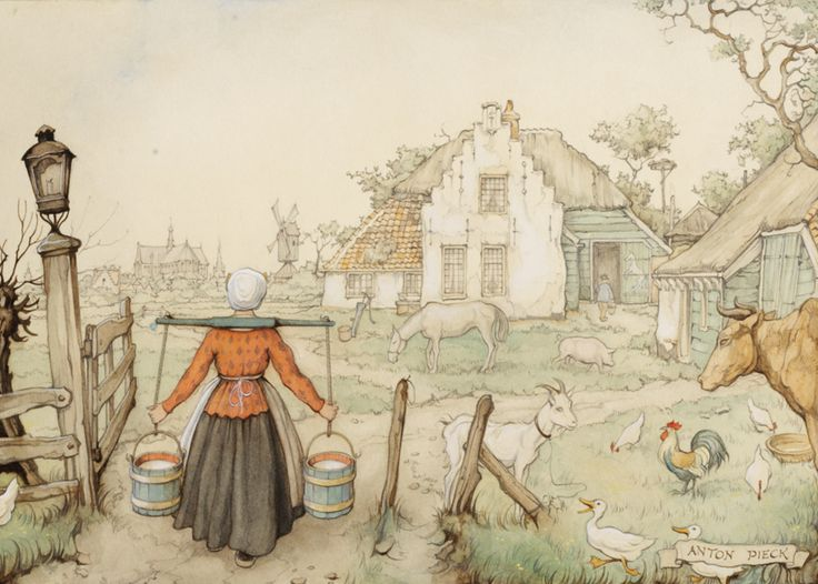 'Boerderij' - Anton Pieck, 1895-1987.  Met het melkjuk op de schouders keert de boerendochter terug van de wei, waar ze de koeien heeft gemolken. Het is een zware klus, de emmers wegen aan beide zijden wel 25 kilo.