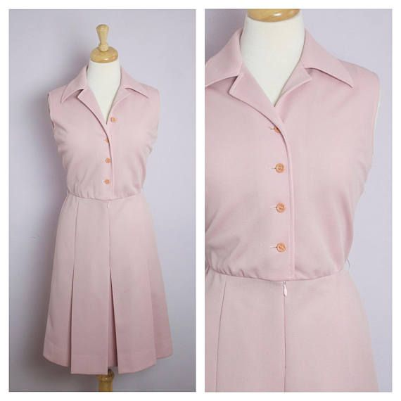 Vintage 1970's Sleeveless Dusty Rose Pink Shirt Dress M