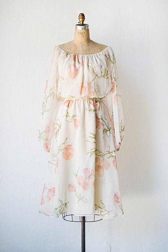 vintage 1970s poppy print boho chiffon dress ..I love this.. I think Roberto would enjoy this on me !