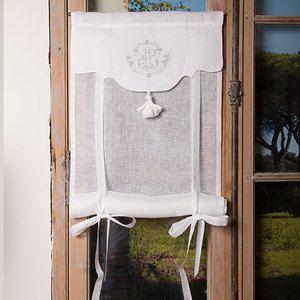 Store de charme brodé 45x120 cm Le Grenier d'Apolline