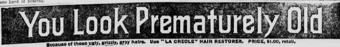 """Florida """"You Look Prematurely Old because of those ugly, Grizzly, gray hairs."""" Advertisement for La Creole Hair Restorer from the Enterprise-Reporter in Madison, Florida January 5, 1911."""