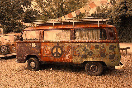 Hippie. VW. Cross Country. Love. No worries. Sounds like the perfect life.